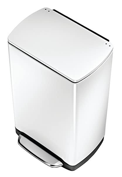 Simplehuman Wide Step Rectangular Step Trash Can, White Steel, 38 L / 10
