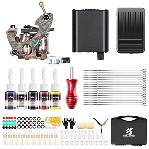 - Solong Complete Starter Tattoo Gun Kit 1 Machine Professional 5 Inks Power Supply and Carry Case for beginner TK106