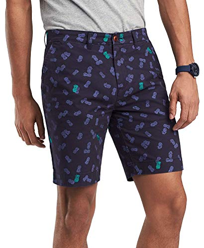 Tommy Hilfiger Men's Pineapple Embroidered Scatter-Print 9 Inches Shorts Navy Blazer 34W