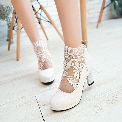 Stivali Da Sera Con Piattaforma A Tacco Alto Con Chiusura A Lampo In Pizzo Bianco Moda Donna Latasa
