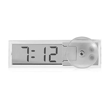 RAILONCH - Reloj digital con pantalla LCD para el salpicadero del coche con fecha, mini