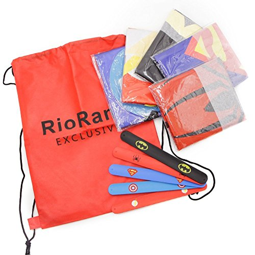 RioRand Dress Up Costumes Cartoon 5 Satin Capes Set with 5 Wristbands and 1 Exclusive Bag