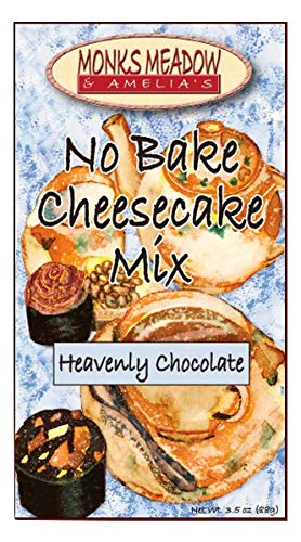 Monks Meadow Heavenly Chocolate Cheesecake - No Bake Mix in 5 oz box with easy to make instructions on Box (No Bake Cheesecake, Heavenly - Cheesecake Dark Chocolate