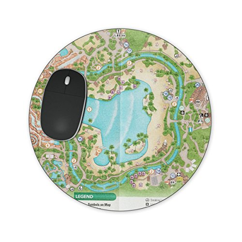 Typhoon Lagoon Map Mousepad - Round Mousepad - Neoprene for Optical & Laser - Map Of Lagoon Typhoon