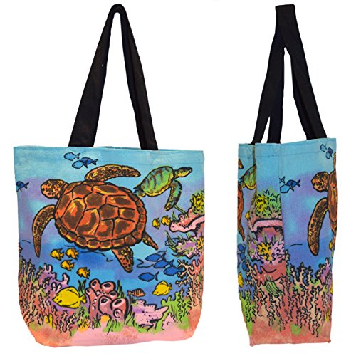 Shopper Tote Bag - Colorful Sea Turtle, Eco-Friendly Reusable Multipurpose Canvas Grocery Bag