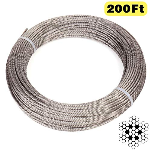 Blika 200 Feet 1/8 Inch Stainless Aircraft Steel Wire Rope Cable for Railing,Decking, DIY Balustrade, 7x7 Construction, T316 Marin Grade