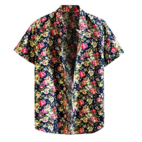 Shirt Relaxed-Fit Hawaiian Summer Fashion Shirts Casual Short Sleeve Beach Tops Loose Casual Blouse Men (4XL,4- Black)