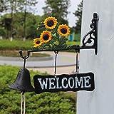 LBYMYB Sunflower Wrought Iron Vintage Doorbell Welcome Door Shape Hand-Painted Doorbell Rattle Decoration 31x9.7x27cm doorbell