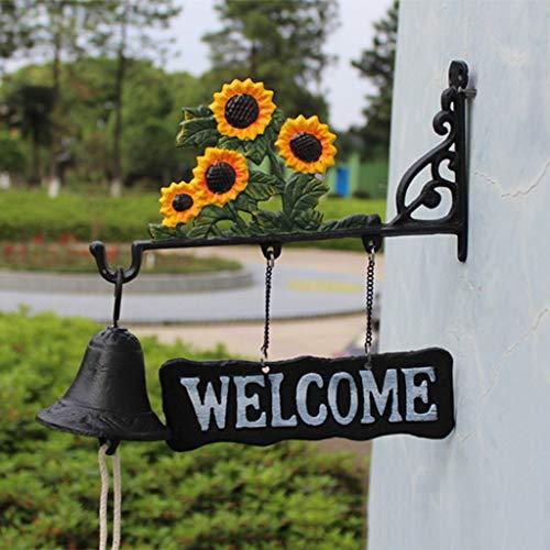 [해외]LRW Creative Retro Doorbell Welcome Doorplate Sunflower Modeling Hand-Drawn Doorbell Hand Bell / LRW Creative Retro Doorbell Welcome Doorplate Sunflower Modeling Hand-Drawn Doorbell Hand Bell