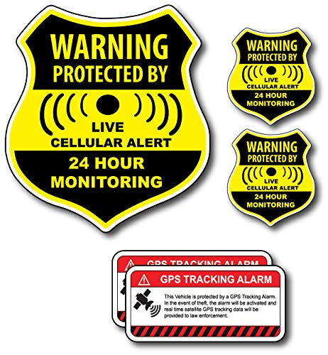 (5 Pack) Combination Pack of 24 Hour Monitoring - This Vehicle Protected by GPS Tracking Warning Signs - Decal Self Adhesive Sticker Vinyl Decal - UV Resistent