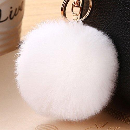 Korea Cute Hairball Key Chain Bag Pendant Car Key Pendant Bag Key Chain Female Key Chain (Color : White)