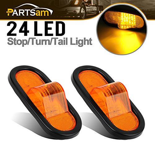 Partsam 2pcs 6 Mid Turn Signal Amber Marker Light Rubber Mount 24 LED w/Reflector Universal
