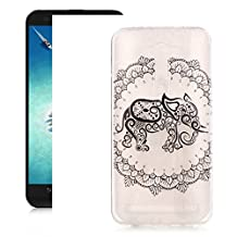 "OuDu TPU Silicone Case for ASUS Zenfone 2 Laser ZE500KL 5.0"" Gel Rubber Cover Transparent Clear Shell Soft Flexible Bumper Slim Thin Case Smooth Lightweight Sleeve - Beautiful Elephant"