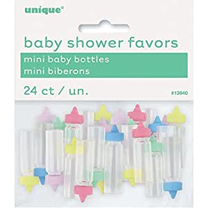 Mini Plastic Baby Bottle Gender Neutral Shower Favor Charms, 24ct