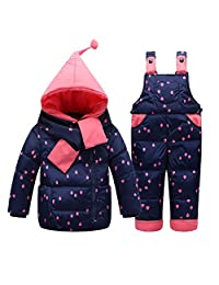 Kedera Little Girls' Snowsuit Jacket with Scarf Dot Printed Puffer Coat Toddler