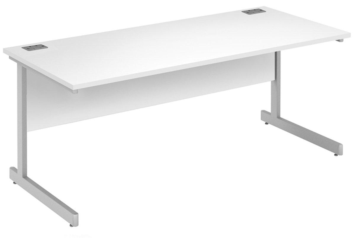 White   Silver 180 cm x 80 cm Office Hippo Fraction Plus Rectangular Desk, 80 cm x 80 cm - Oak Top   Silver Frame