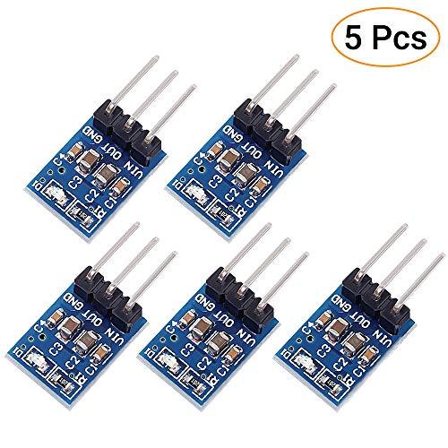 Icstation 3Pins AMS1117-3.3V Buck Module Soldering Kit DC 4.75V-12V to 3.3V Voltage Regulator Step Down Power Supply Buck Module 800mA(Pack of 5)