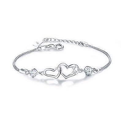 WikiMiu Bracelet Femme en Argent 925 en Forme de Coeur, Bijoux Fantaisie  Taille Réglable, Cadeau pour Femme Fille pour Anniversaire Noël et Fêtes