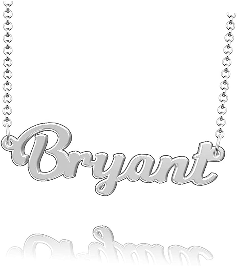 LoEnMe Jewelry Beaty Name Necklace Sterling Silver Plated Custom Made of Last Name Personalized Gift for Family