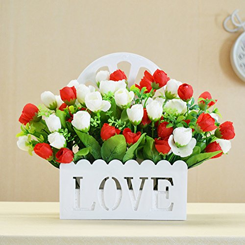 JIALELE Flores Artificiales,Flores De Seda,Decorativas Ramo The Wall Hanging Type Decorative Wall Hanging Flower Flower Fence Flowers Plant Living Room Decoration Wooden Fence,Red And White No vases