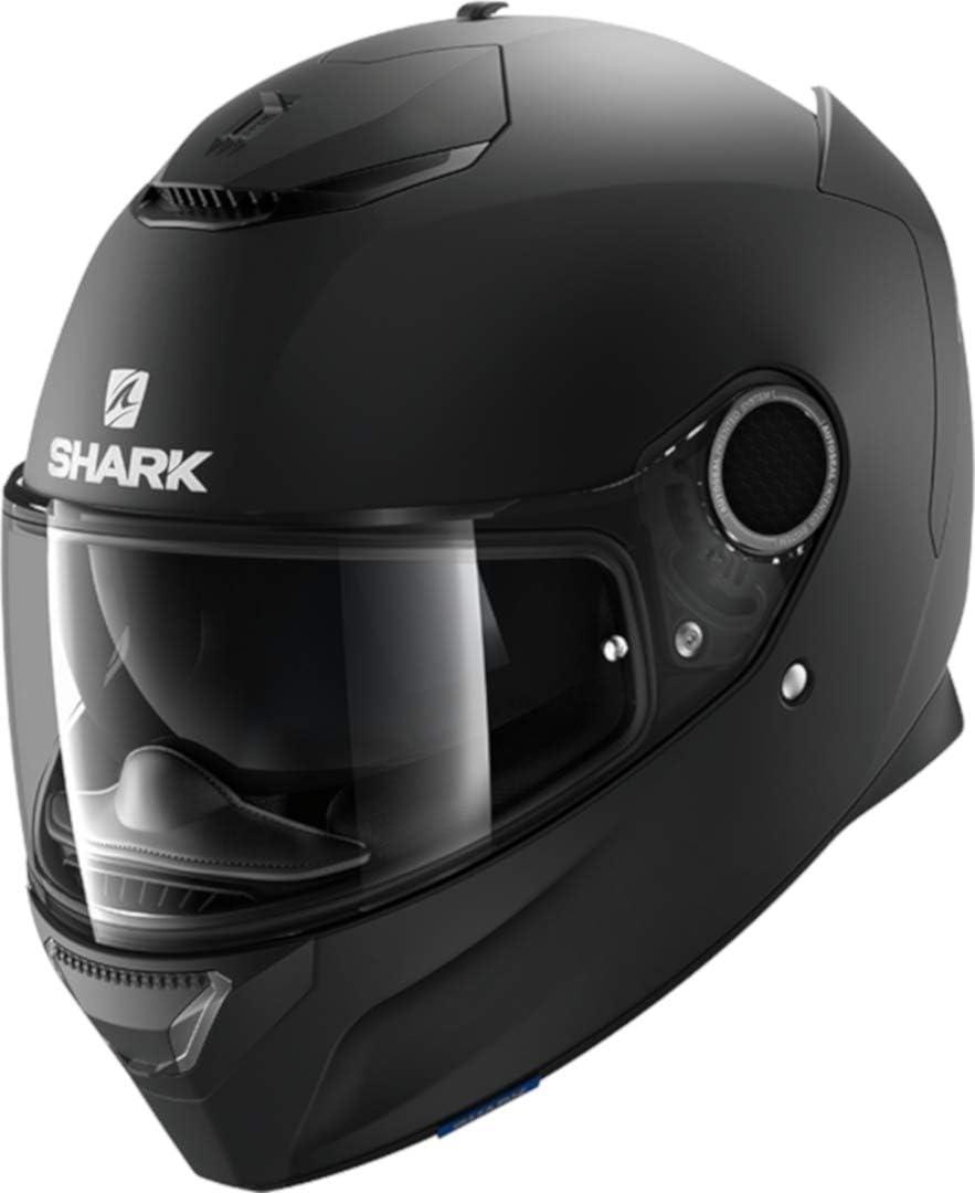 S Nero Casco moto Shark SPARTAN 1.2 BLANK Mat KMA