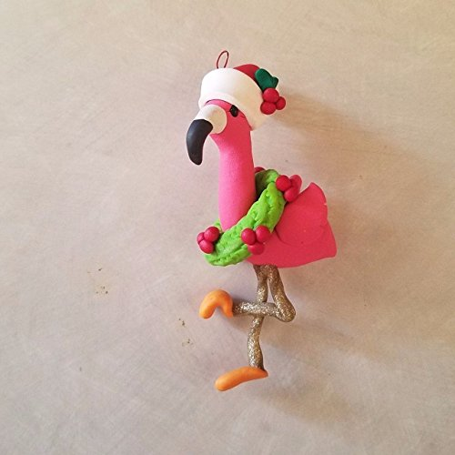 (FLAMINGO CHRISTMAS ORNAMENT PINK FLAMINGO with Santa Hat and Wreath Hand Made Polymer Clay OOAK Can be Personalized)