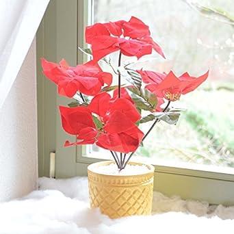 Schön LED Weihnachtsstern Beleuchtet Batterie Blumentopf Kunstpflanze Blume 43cm  Licht Lichter Kunstblume Kunstpflanze Leuchte Tisch Dekoration Deko