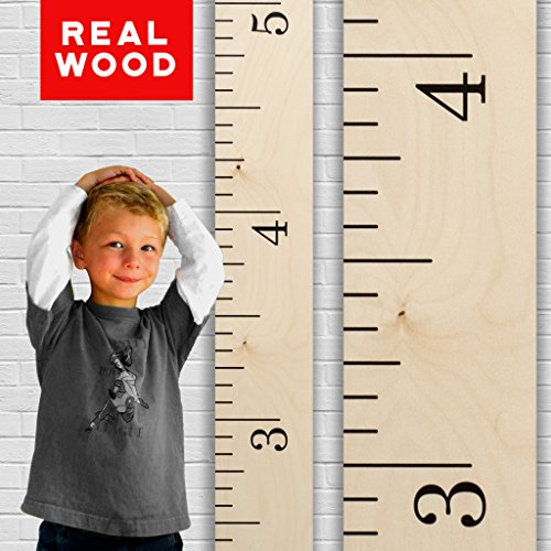 - Growth Chart Art | Hanging Wooden Height Growth Chart to Measure Baby, Child, Grandchild - Naked Birch Classic Schoolhouse Ruler with Inches - Wall Decoration for Girls and Boys - 58