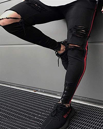 Uomo Denim Da Casual Pantaloni Slim Strappati Nero Semplice Stile Jeans Fit wgEFCUqn