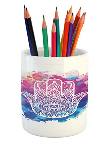 Hand Drawn Watercolor - Ambesonne Evil Eye Pencil Pen Holder, Ornate White Hand Drawn Hamsa on Watercolor Splashes Artistic Energetic Print, Printed Ceramic Pencil Pen Holder for Desk Office Accessory, Pink Blue White