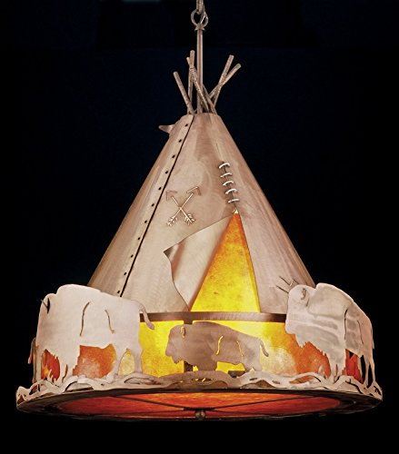 Meyda Tiffany 31931 Teepee with Buffalo Pendant, 24