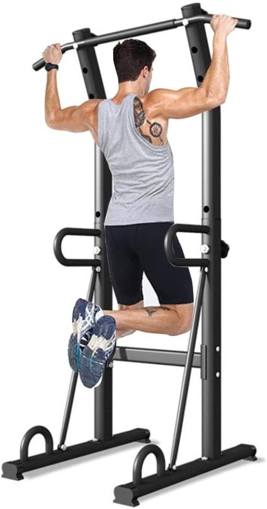 USA in Stock Power Tower Dip Station Adjustable Height Pull Up Bar Chin Up Bar Multi-Function Home Strength Training Fitness Workout Station for Home Gym Exercise Workout Equipment Max Load 300LBS