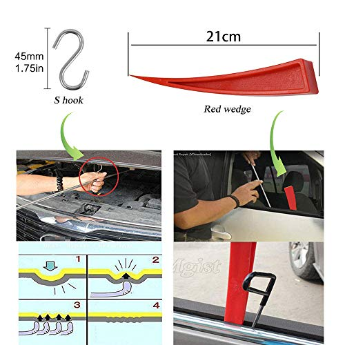 JMgist Dent Repair Tools Kit Window Guard with Felt Red Wedge and S-Hook for Car Paintless Dent Removal by JMgist (Image #5)