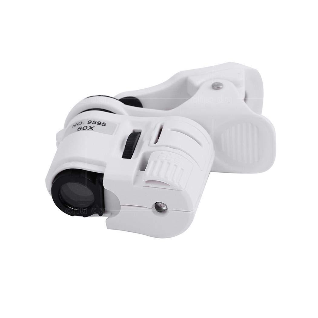 LIOPIO Clip-type Microscope 60X Magnification LED Light Mobile Phone Magnifier Lens Attachments