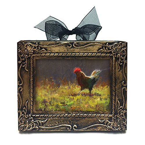 Handmade Antique Style Mini Framed Rooster Oil Painting Print By Karen (Ribbon Small Poster)