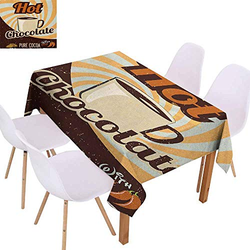 Polyester Tablecloth Retro Old Hot Chocolate Commercial in Funky Shaded Color with Cocoa Beans and Mug Print Easy to Clean W52 xL70 Multicolor
