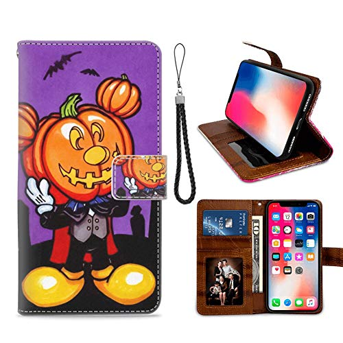 DISNEY COLLECTION Wallet Cover Case Compatible for iPhone Xs, iPhone 10, iPhone X 5.8-Inch Free Mickey Mouse Halloween Screensaver Flip]()