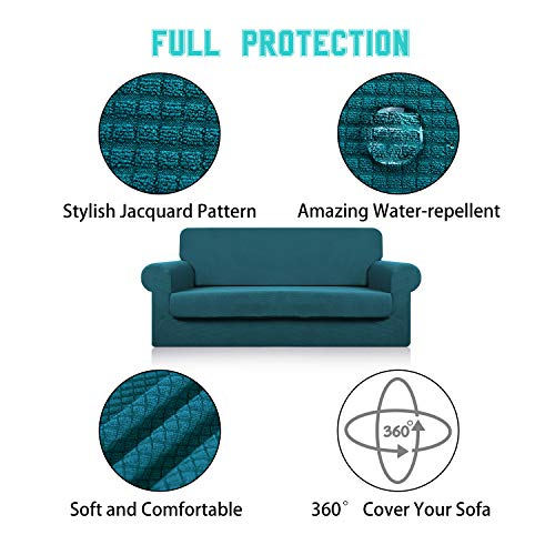Large Sofa Cover with Separate Seat Cushion Cover(2 Pieces Set) - Water Repellent,Knitted Jacquard,High Stretch - Living Room Couch Slipcover/Protector/Shield for Dog Cat Pets(4 Seater Sofa,Teal) by DEZENE (Image #4)