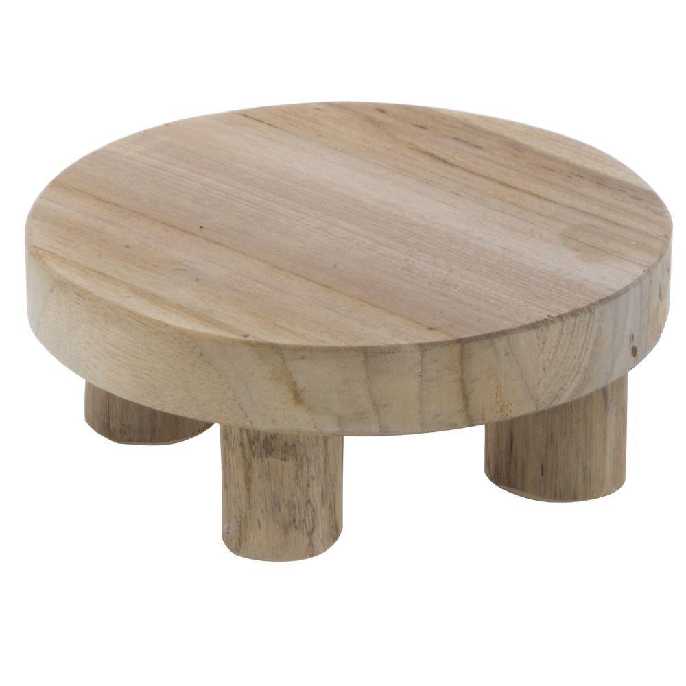 Teak Wood Display Riser - 6'' Dia x 2 3/4'' H
