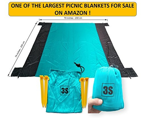 """3S Compact Picnic Blanket - 79""""x79"""" Beach, Hiking, Outdoor, Waterproof, Lightweight, Parachute nylon fabric, Quick-dry, Sand proof, Easy portable"""