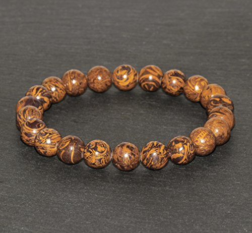 8mm Elephant Skin Jasper Bracelet, Jewelry, Calligraphy Stone Beaded Bracelet, Meditation Third Eye Chakra,Chakra Jewelry,Miriam Cobre Stone ()