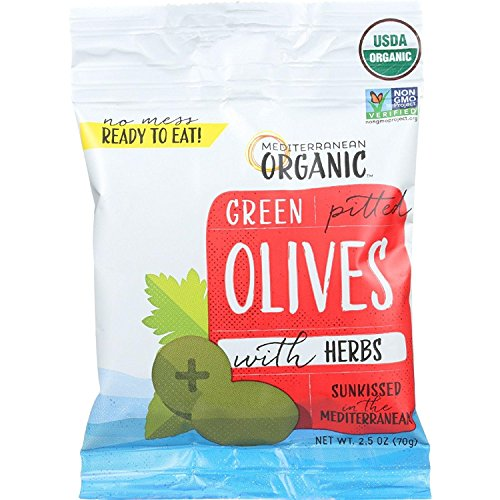 Mediterranean Olive - Mediterranean Organic Green Olives Pitted with Herbs Snack, 2.39 Pound