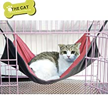 Cat Bed, Kolis Pet Cat Reversible Soft Cage Hanging Bed Comfortable Hammock, Also for Rabbit,Small Dogs and Other Small Animals (S, Red)