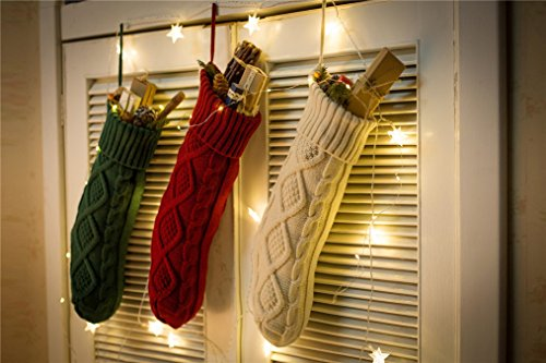 Sexybody Knitted Cable Christmas Decoration Socks Hanging Stockings Decor,Set of 3 by Sexybody (Image #2)