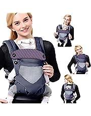 SaponinTree 4-i-1 bärsele för nyfödda, justerbar swaddle wrap med huva, ergonomisk amning bärsele för nyfödda till småbarn upp till 20 kg (0-48 månader)