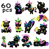 MALLMALL6 60Pcs Unicorn Scratch Art Party Favors Rainbow Unicorn Birthday Party Supplies Unicorn Banner Decorations Magic Color Reveal Scratch Cards DIY Craft Kit Party Games for Kids Boy Girls