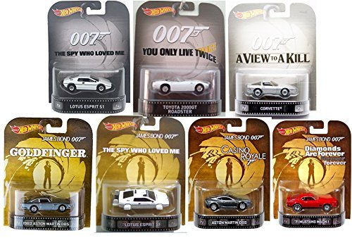 Hot Wheels Retro Entertainment James Bond 7-Car Set (1963 Aston Martin DB5; Aston Martin DBS; Toyota 2000GT Roadster; Lotus Esprit S1 1971 Mustang Mach 1; 80's Corvette)