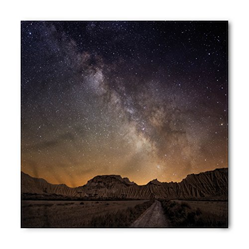 Night Bandana by Ambesonne, Milky Way over Desert of Bardenas Spain Ethereal View Hills Arid Country, Printed Unisex Bandana Head and Neck Tie Scarf Headband, 22 X 22 Inches, Plum - Desert Premium Hills