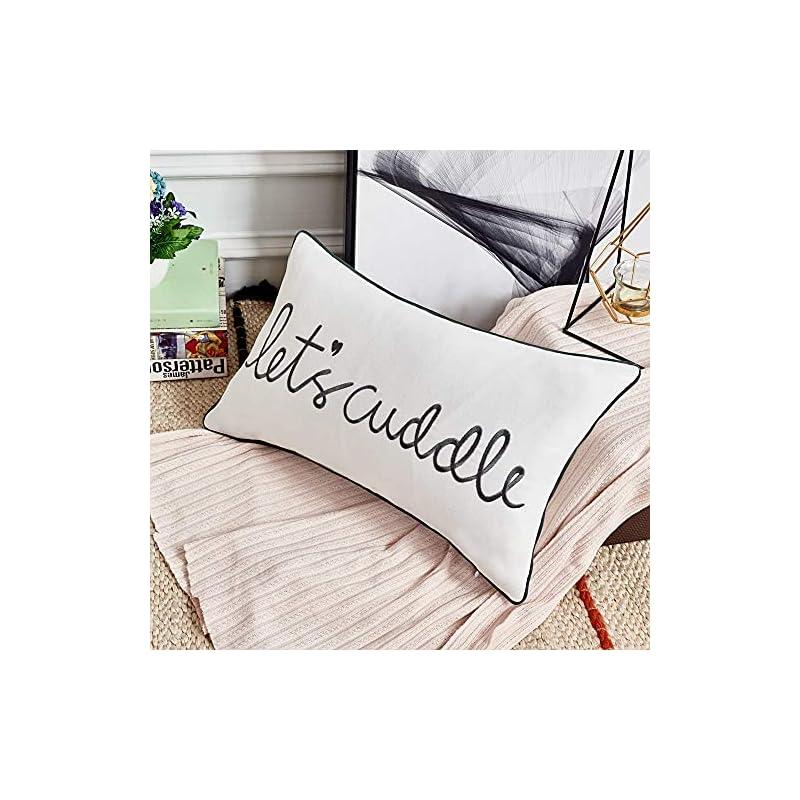 Sanmetex Let's Cuddle Farmhouse Lumbar Pillow Cover, Rectangle Throw Pillow Case for Bedroom. Livingroom Cushion Cover…