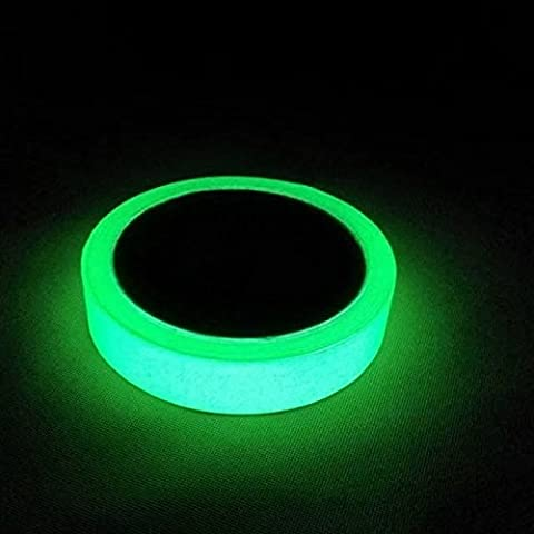 Glow in the Dark Fluorescent Tape 33ft x 0.8 In Luminous photoluminescent markers for stairs, walls, steps, exit sign. Glowing pro theatre stage floor Premium Quality Non-Toxic, 12 Hour - Fluorescent Step Light